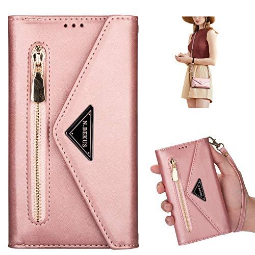 Kompatibel mit Huawei Y7 2019 Hülle Leder Flip Handyhülle Schutzhülle Tasche Brieftasche Wallet Hülle Geldbörse [5 Kartenfach] Reißverschluss Handschlaufe Handytasche Klapphülle,Rose Gold