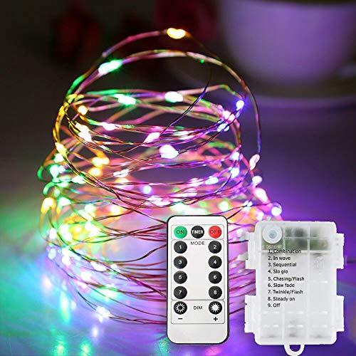 WERGOOD 200 luces LED de control remoto multifuncional de cobre con batería puede cambiar 8 modos de iluminación en cualquier momento utilizado para fiestas para decorar el dormitorio y el jardín