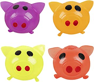 Anti-Stress Jello Pig Cute Toys, Splat Water Pig Ball Vent Toy Squishy Soft Venting Sticky Pig Squeezing Toys Stress Reliever Decompression Toy Gifts for Kids Adults Party (Red/Yellow/Orange/Purple)
