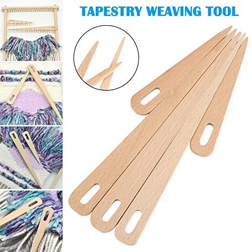 Suppyfly 5-delig/set hout weven haaknaald tapijt maken DIY handwerk gereedschap