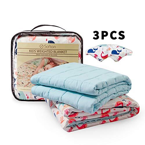 softan Kinder Beschwerte Gewichtete Decke 3 Stück(100 x 150cm 3kg)-TherapieDecke,Premium Cover, Schlafmaske, Wal