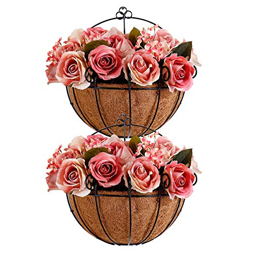 Metal Hanging Planter Basket with Coco Coir Liner Wall Mount Wire Plant Holder for Indoor Outdoor Garden Porch and Balcony (2 Pack) (11 inch)