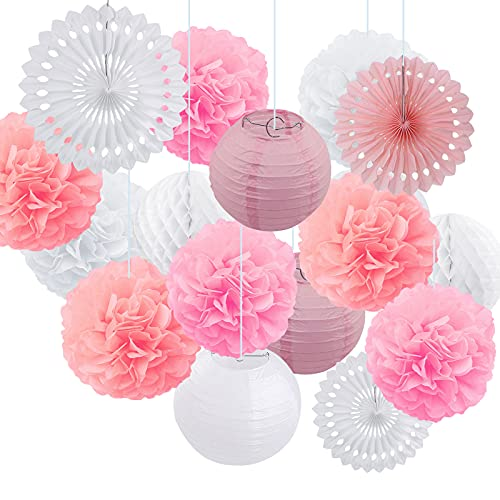 Juego de ventiladores de papel para colgar, 12 pompones de papel y 6 linternas de papel con 3 bolas de panal para cumpleaños, baby shower, bodas, festivales y fiestas