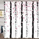 Jawo Valentinstag Party Hochzeit Duschvorhang für Badezimmer, rosa Glitzer-Konfetti mit Herzen auf schwarzen Streifen, Polyester Stoff Badevorhang 182,9 x 182,9 cm Badezimmer Set mit Haken wasserdicht