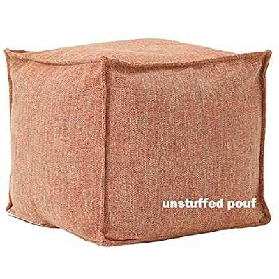 """idee-home Unstuffed Pouf Cover, Ottoman Pouf Foot Rest Footstool, Solid Square Pouf, Storage Bean Bag 17.7""""x17.7""""x15.7"""", ONLY Cover"""