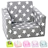 DELSIT Toddler Chair & Kids Sofa - European Made Children's 2 in 1 Flip Open Foam Single Sofa, Toddler Fold Out Chair, Kids Couch, Comfy Flip Out Lounge (Gray with Stars)