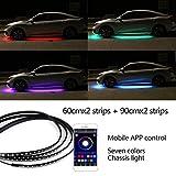 Luces 12V RGB SMD Atmósfera Atmósfera Luces Música Control remoto RGB LED Strip debajo del automóvil Durno bajo cuerpo Sistema de Neón Accesorios de luz ( Color : 60cm 90cm App , Size : Gratis )