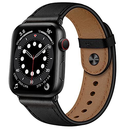 YALOCEA Lederarmband Kompatibel mit Apple Watch Armband 45mm 44mm 42mm 41mm 40mm 38mm, Lederband Ersatzband Kompatibel für iWatch Series 7 6 5 4 3 2 1 SE (Schwarz/Schwarz, 45mm 44mm 42mm)