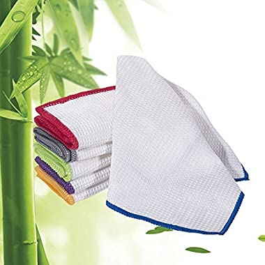 Luckiss Set of 6 Dish Cloths Cleaning Cloth and Dust Cloths Sets Super Absorbent Soft Durable and Eco-friendly Cleaning Rags 12 x 12 inch