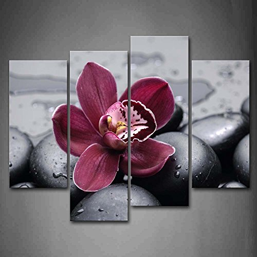 Firstwallart Dark Red Orchid On Cobblestones Wall Art Painting Pictures Print On Canvas Flower The Picture for Home Modern Decoration