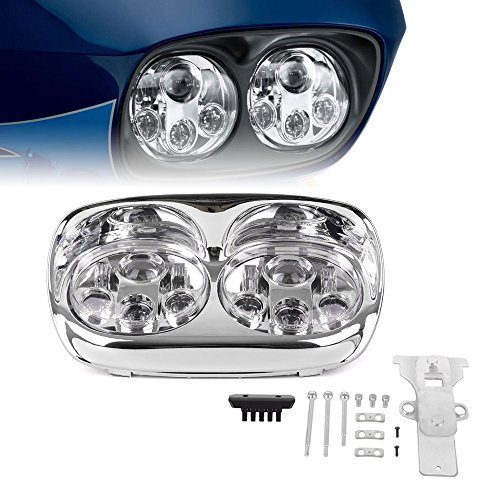Chrome Dual LED Headlight for Motorcycle Road Glide 2004 2005 2006 2007 2008 2009 2010 2011 2012 2013