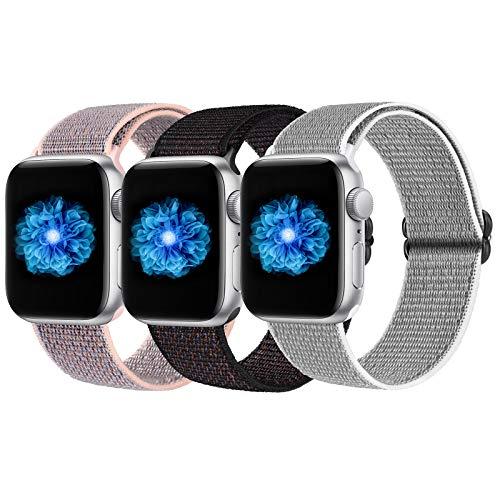 JUCC 3 Pack Correas Compatible con Apple Watch 44mm 42mm 38mm 40mm,Pulseras de Repuesto de Nylon Correa para iWatch Series 5 4 3 2 1,Mujer y Hombre (42mm/44mm, Black Sand/Pink Sand/Gray)