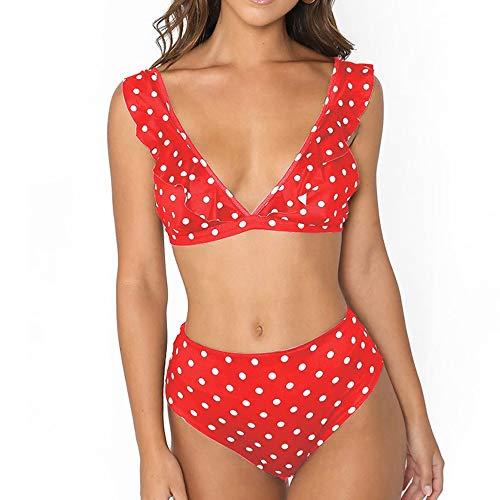 Bikini Profundo con Volantes en V Traje de baño Sexy con Estampado de Lunares en Negro y Blanco Rojo L
