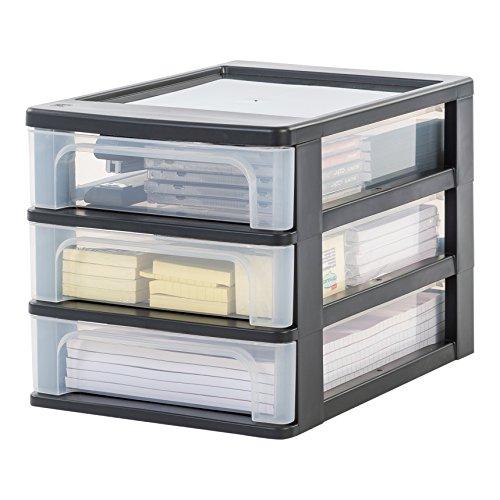 Iris Ohyama, Schubladenbox / Schubladencontainer - Organizer Chest OCH-2030 - plastik, schwarz, 3 x 4 L, L35,5 x B26 x H25,5 cm