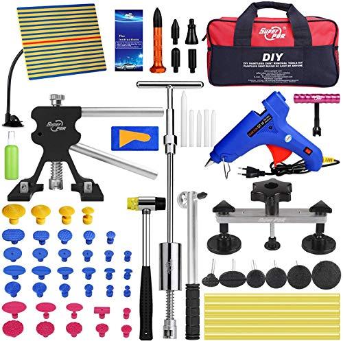 Fly5D Paintless Dellen-Reparaturset zur Entfernen Hagelschaden Werkzeug Schiebehammer Kleber Abzieher Reparatur Starter Set Kits für Auto Hagel Schäden und Tür Dings Reparatur (Schwarzer Dellenheber)