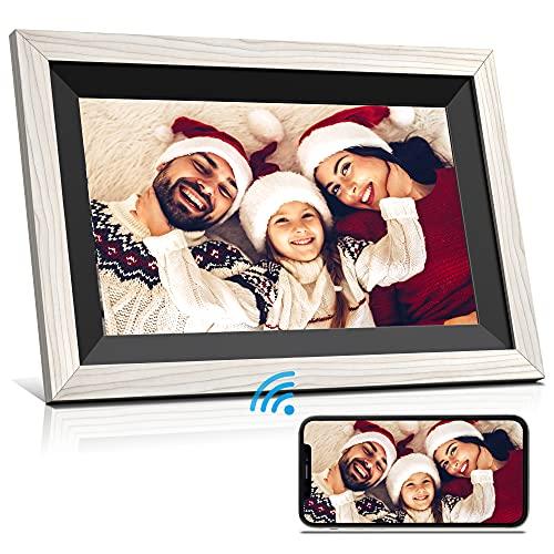 Cadre photo numérique WiFi Cadre photo à écran tactile HD IPS de 10,1 pouces avec stockage de 16 Go Rotation automatique Luminosité réglable Configuration facile pour partager des photos ou des vidéos
