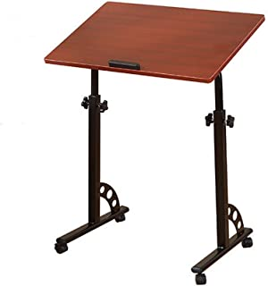 AINIYF Folding Computer Desk Portable Height Adjustable Over Bed Side Table with Wheels Side Table Rolling Lap Desk (Color...