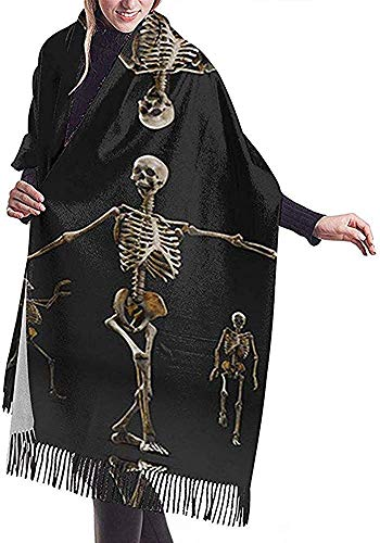 Zseeda Three Skulls Of Love Performance Print Bufanda de cachemira para mujer Casual Warm Scarf Wrap Chal grande