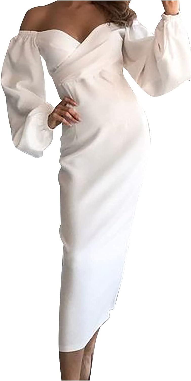 GOODTRADE8 Maxi Dress Women's Fashion Slim Party One Shoulder V-Neck Solid Color Formal Long Dress Cocktail Wedding Wrap