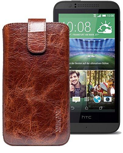 Original Suncase® Etui Tasche für HTC Desire 510 | HTC Desire 526G Dual SIM | ZTE Blade V6 Leder Etui Handytasche Ledertasche Schutzhülle Hülle Hülle *Lasche mit Rückzugfunktion* rustik-tabak braun