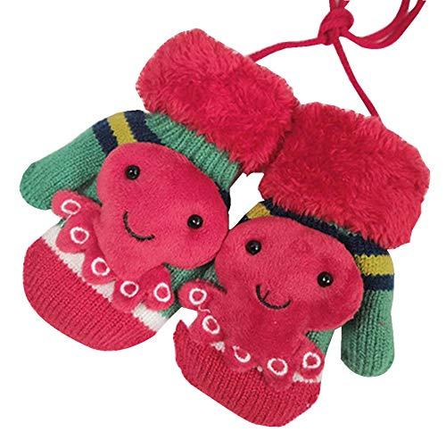 Black Temptation Kinder-Winterhandschuhe Schöne Baby-Baby-Winterhandschuhe [Oktopus, Rot]