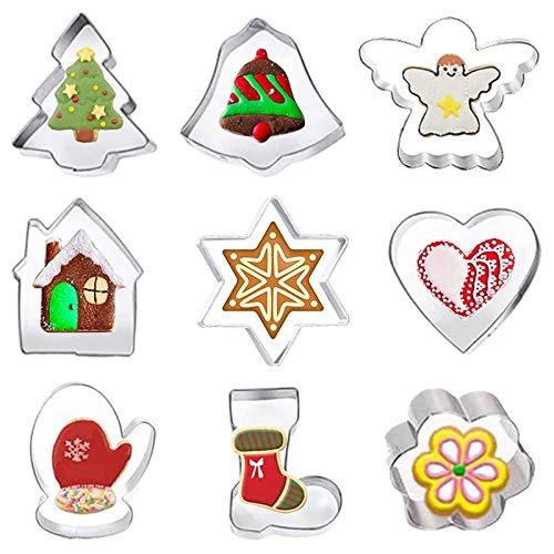 FINEVERNEK 9 Piezas Cortadores de Galletas de Navidad, Moldes de Galletas Acero Inoxidable, Navidad Cortadores de Galletas,Cortador de Galletas Árbol de Navidad para Cookie Fondant Navidad