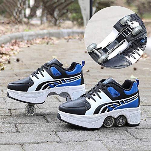 WEDSGTV Rollschuhe Verstellbar, Quad Rollschuhe Schuhe, Tragbar Vier Rad rutschfest Skate Schuhe, Weihnachten Geburtstagsgeschenk Für Mädchen Und Jungen,Blue-34