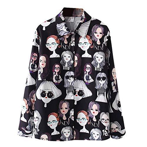 Cardith DamenModeLange Ärmel JahrgangDrucken Koreanisch Hemd Beiläufig Lose Bluse