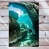Nature Landscape Canvas Wall Art Artwork Wooden Frame Painting Scuba Diving In The Casa Cenote Tulum Mexico Landscape Nature Artwork For Bedroom Bathroom Home Office Living Room Decorations 16x24 Inch