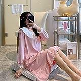GRGFG Batas Kimonos Mujer,Camisones De Mujer De Manga Larga Rosa Dulce Moda Cuello De Encaje Camisón con Volantes Suave Cuello Redondo Suelto Bata Informal Camisón Largo Ropa De Hogar De Invierno, L