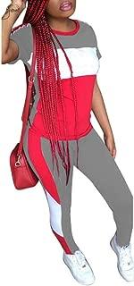 Women's 2 Piece Outfits - Color Block Stripe Short Sleeve Round Neck Top Skinny Long Pants Tracksuit Set