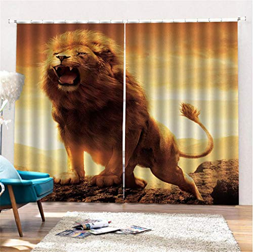 zpbzambm Cortina Opaca Impresión 3D León Rugiente - Aislamiento Reducción De Ruido, Sin Desvanecimiento - 180(H) X125(An) Cmx2 Piezas/Set - Apto para Sala De Estar Dormitorio