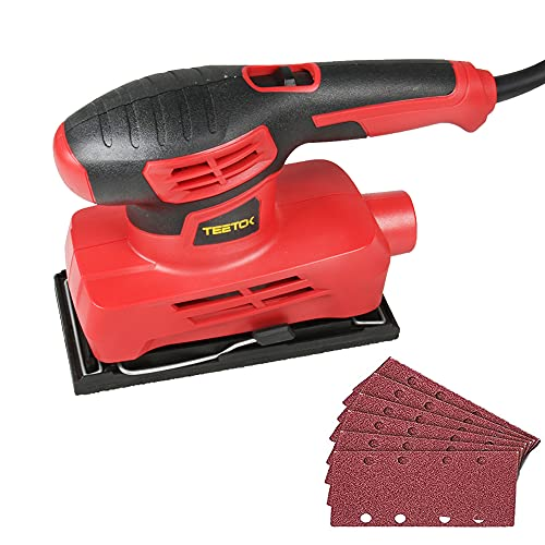 Orbital Sander Electric Sheets Sander 230V with 6Pcs Sanding Sheets Detail Sanders for Wood with Dust Collect Tube