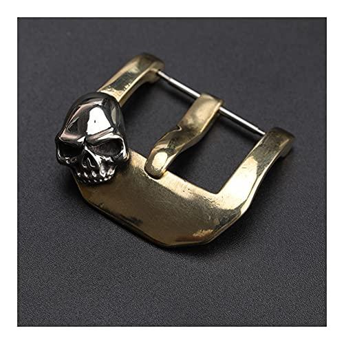 HANRUO Hebilla de cráneo de Cobre Puro 20 22 2 4MM Abrigo de Cuero Adecuado Hebilla de Bronce incrustado Correa de Cuero Hebilla (Band Color : Bronze, Band Width : 26mm)