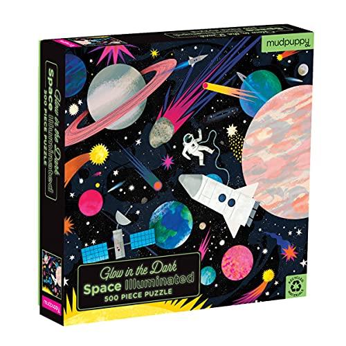 MudPuppy Rompecabezas de 500 Piezas con iluminación Espacial Que Brilla en la Oscuridad para niños y familias, Rompecabezas Familiar con Tema Que Brilla en la Oscuridad