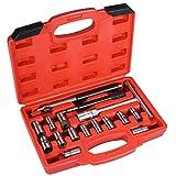 Herramienta de inyector, 17 piezas, llave hexagonal universal, martillo deslizante, herramienta de limpieza de inyector, extractor de inyector diésel para coche