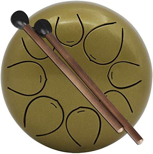 Tambor de Lengua de Acero, 5,5 pulgadas / 13 cm 8 notas Tambor de la lengüeta de acero, tambor de acero de percusión, con mazos de bolsas de viaje para acampar, yoga, meditación, terapia musical