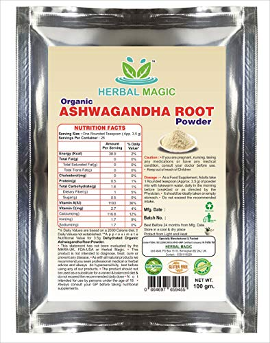 Certified Organic Ashwagandha Root Powder 100g