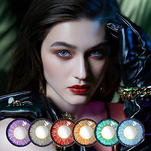 3Pairs Colorful Eye Lenses for Cosmetic Girl Beautiful Halloween Cosplay Anime, Beautiful Pupil Color Girl Dream Series Brand Cosmetic Lens Makeup (3Pairs(6Pcs){Random Color})