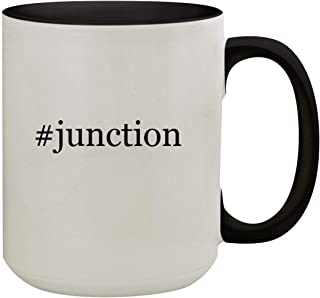 #junction - 15oz Hashtag Colored Inner & Handle Ceramic Coffee Mug, Black