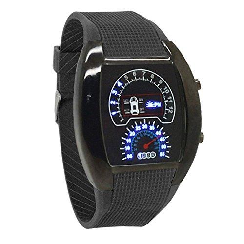 Itscominghome Regalo simple para los mejores amigos azul flash LED reloj RPM Turbo Car Meter Dial hombres Relojes deportivos