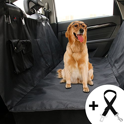 Honest Dog Car Seat Covers with Side Flap, Pet Backseat Cover for Cars, Trucks, and Suv's with Zipper and Pocket- Waterproof & Nonslip Dog
