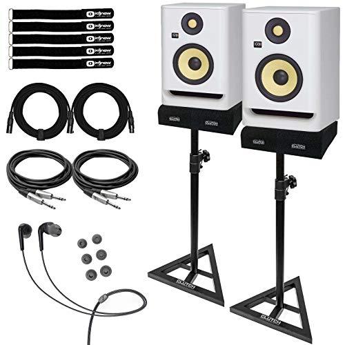 KRK ROKIT 5 G4 RP5G4 5' Active Bi-Amp Studio Monitor Speakers White w TRS Cables