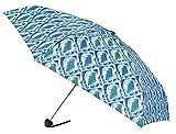 VOGUE-Paraguas Mini Mujer Estampado geométrico Tono Azul. Paraguas Plegable Viaje, para Llevar en el Bolso. Paraguas pequeño y Ligero. Antiviento.