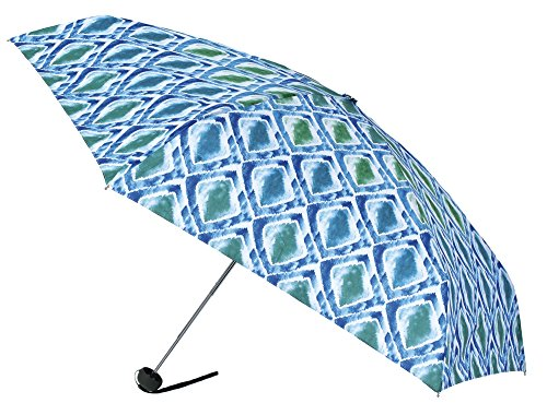 VOGUE-Paraguas Mini Mujer Estampado geométrico Tono Azul. Paraguas Plegable Viaje, para Llevar...