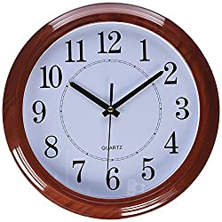 Tebery Imitation Wooden Design Decorative Wall Clock Non-Ticking Digital European Retro Clock 13 Inch