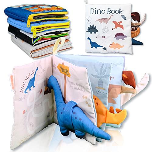 Richgv Libro para bebés, Libro de Tela Suave, Libro de Juguetes para bebés, Libro de Tela Educativo y de Aprendizaje con muñeca 3D (Dinosaurio)