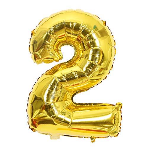 FUSIYU Foil Globo 2,Números 0-9 de Globo de Cumpleaños Fiesta Decoración,70CM de Globos para La Boda Aniversario, Suministros de Cumpleaños Individuación para Adulto Niños(Dorado 2)