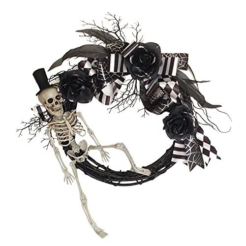 Hanizi Halloween Wreath Skull Wreath, 15 Inches Halloween...