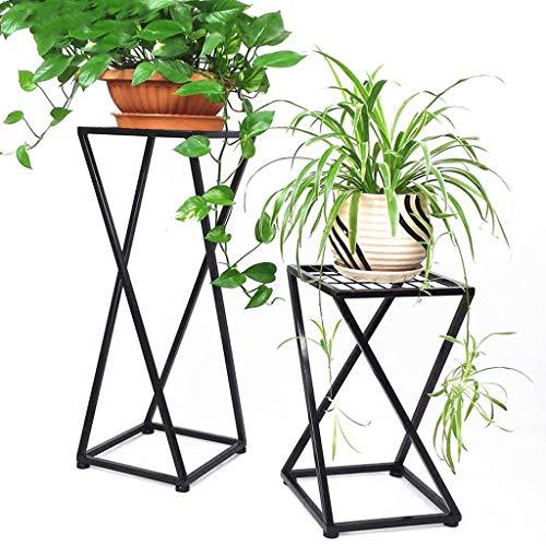 Rack de fleur en fer d'intérieur multifonctionnel solide bois Stand de fleurs salon balcon simple en bois massif Rack de fleurs (Couleur : NOIR, taille : 50cm+80cm)
